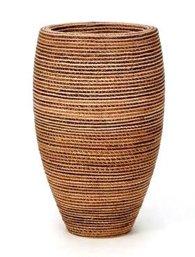 Honey plantvaas. Kunststof plantenbak met handgevlochten Abacablad. Te bestellen in onze webshop in diverse uitvoeringen en maten.